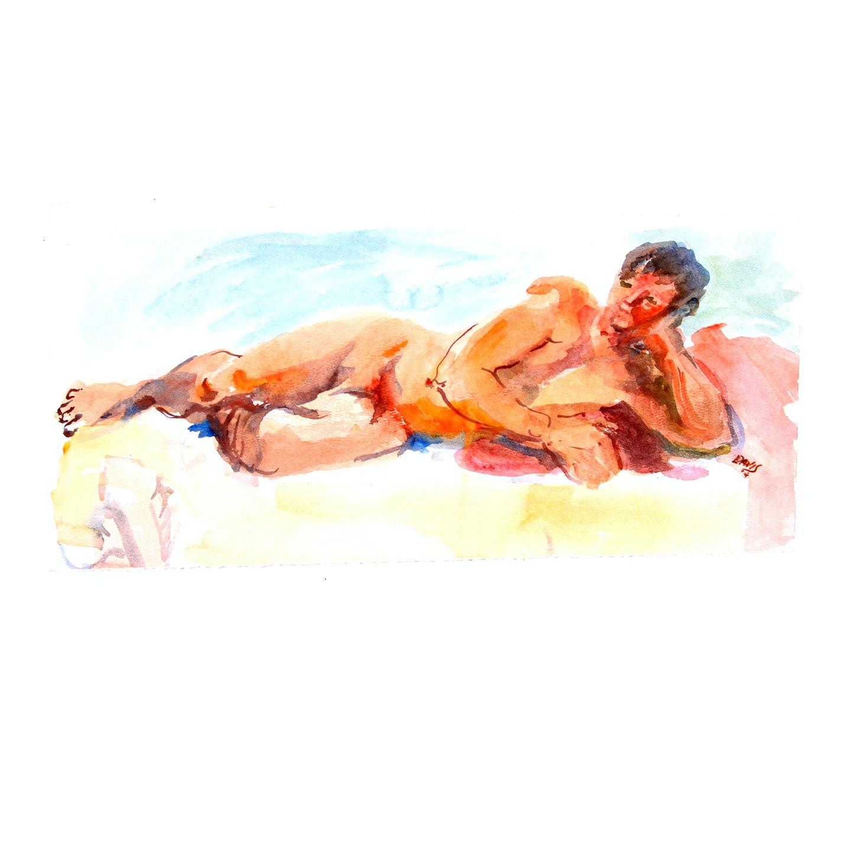 Reclining Male Nude Figure Study by Lois Davis