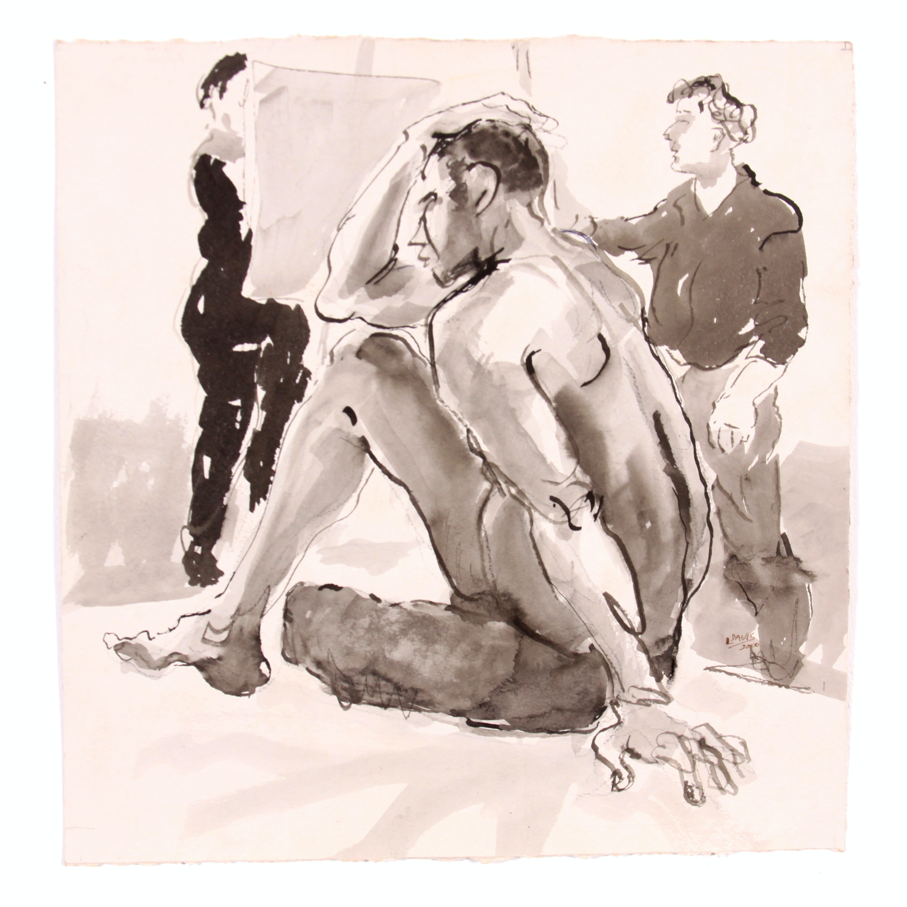 Seated Nude Male Original Watercolor by Lois Davis