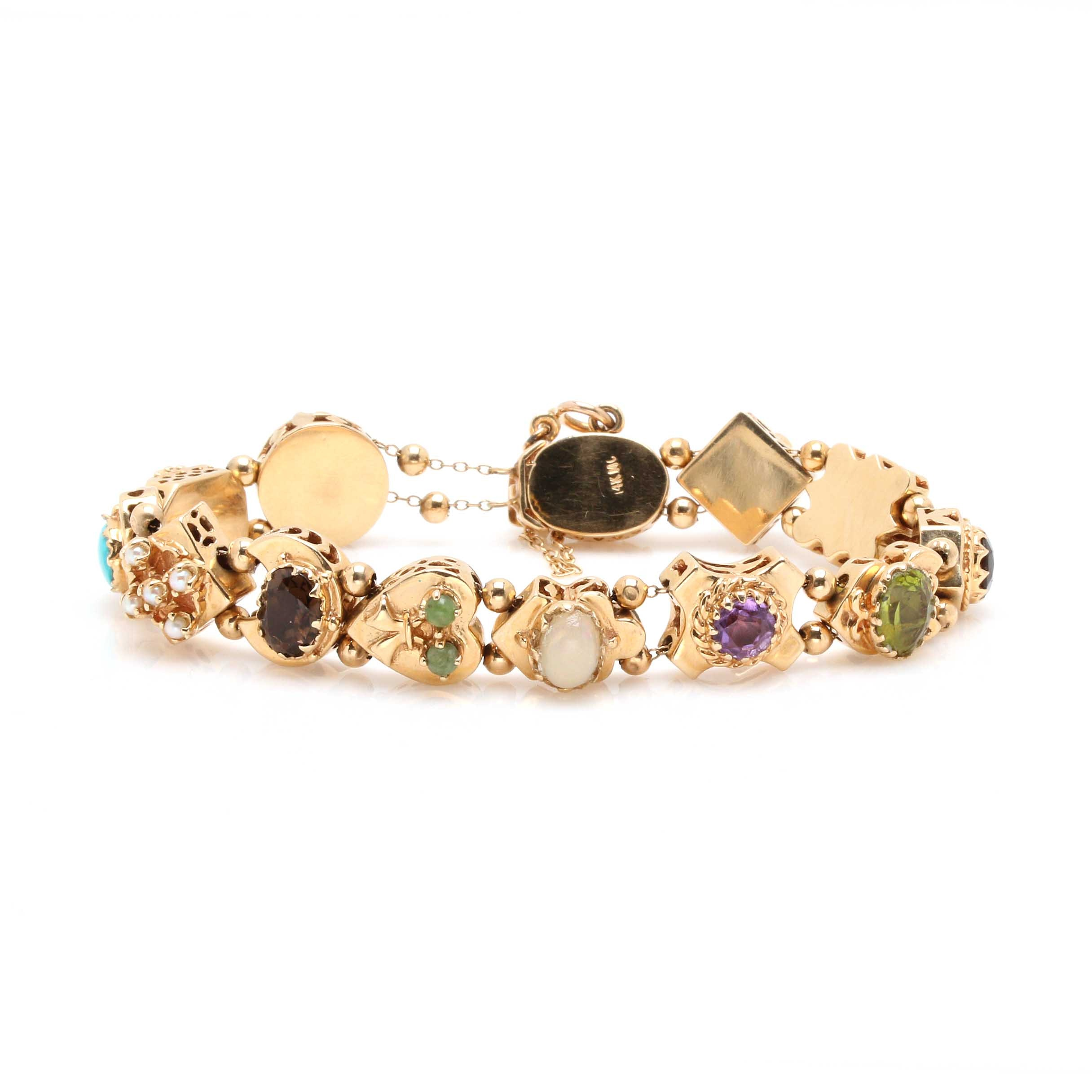 14K Yellow Gold Gemstone Slide Charm Bracelet