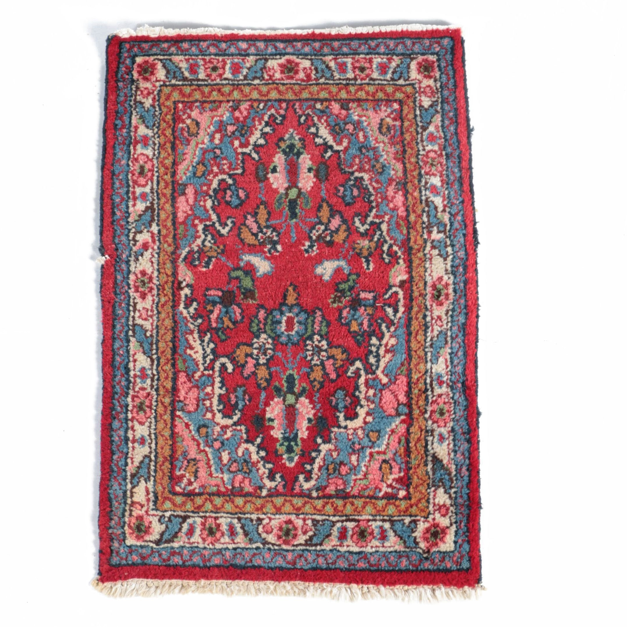 Hand-Knotted Persian Arak Wool Accent Rug