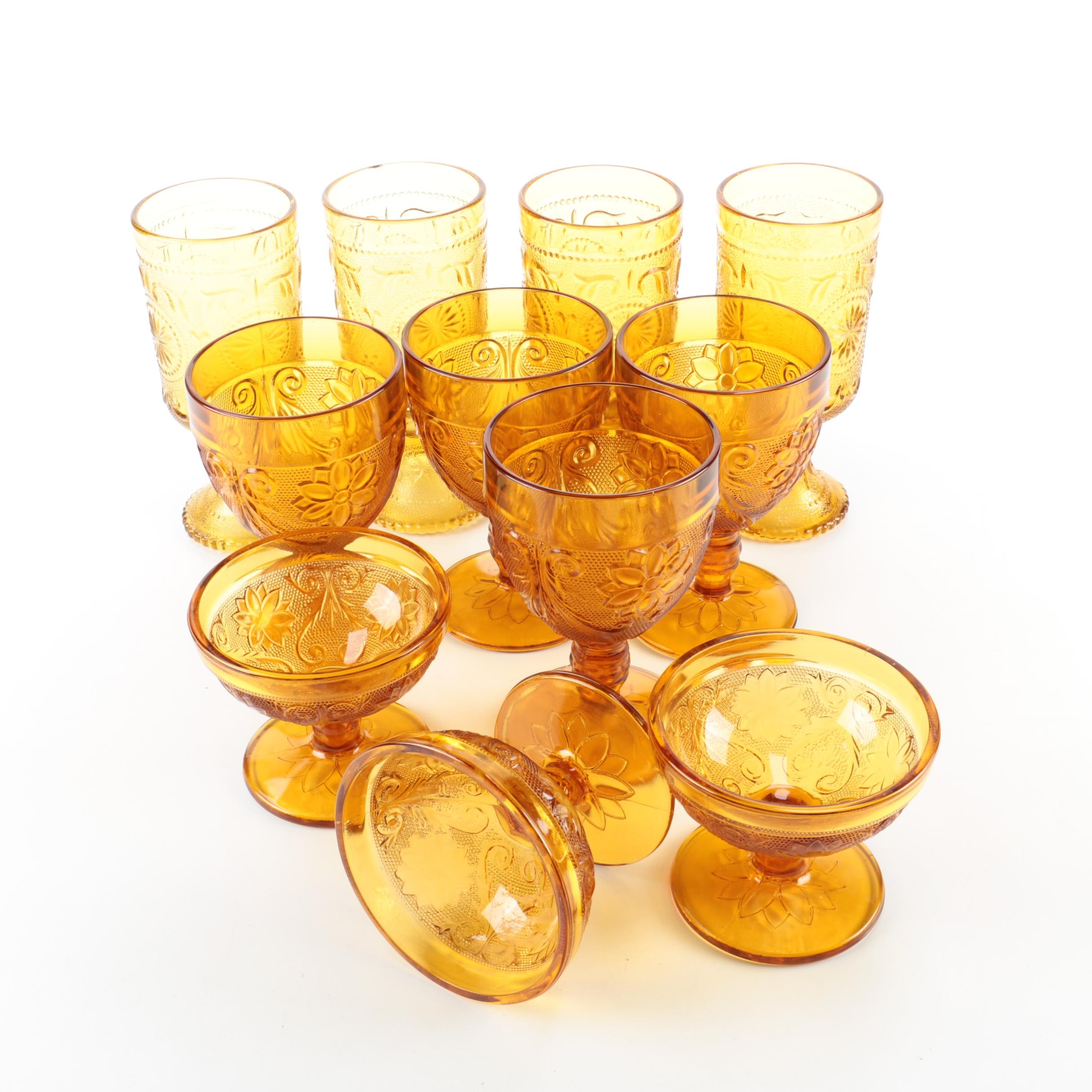 Vintage Indiana Glass Amber Stemware Goblets and Sundae Dishes