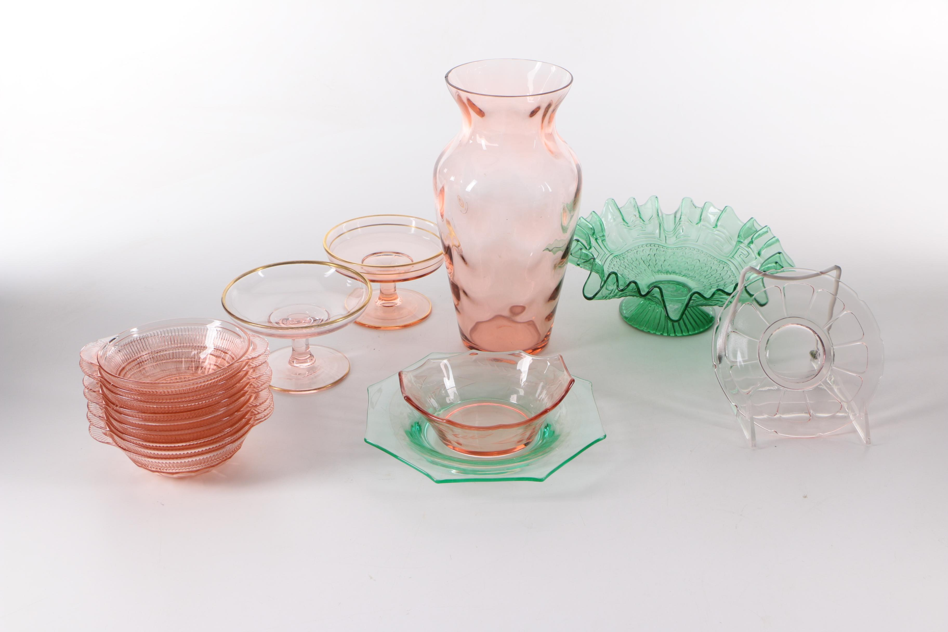 """Tableware Including Anchor Hocking """"Coronation Pink"""" Depression Glass"""