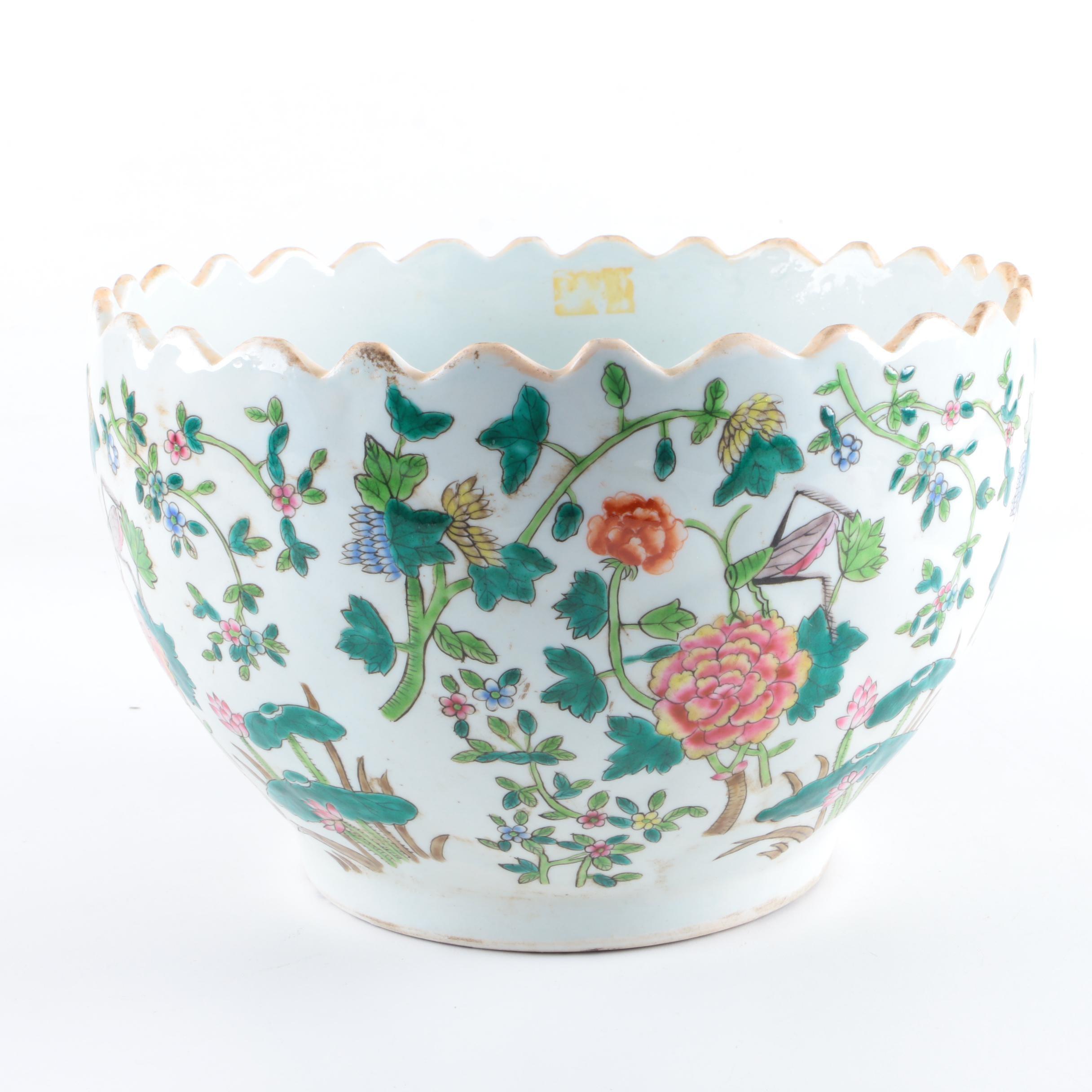 Chinese Floral Ceramic Planter