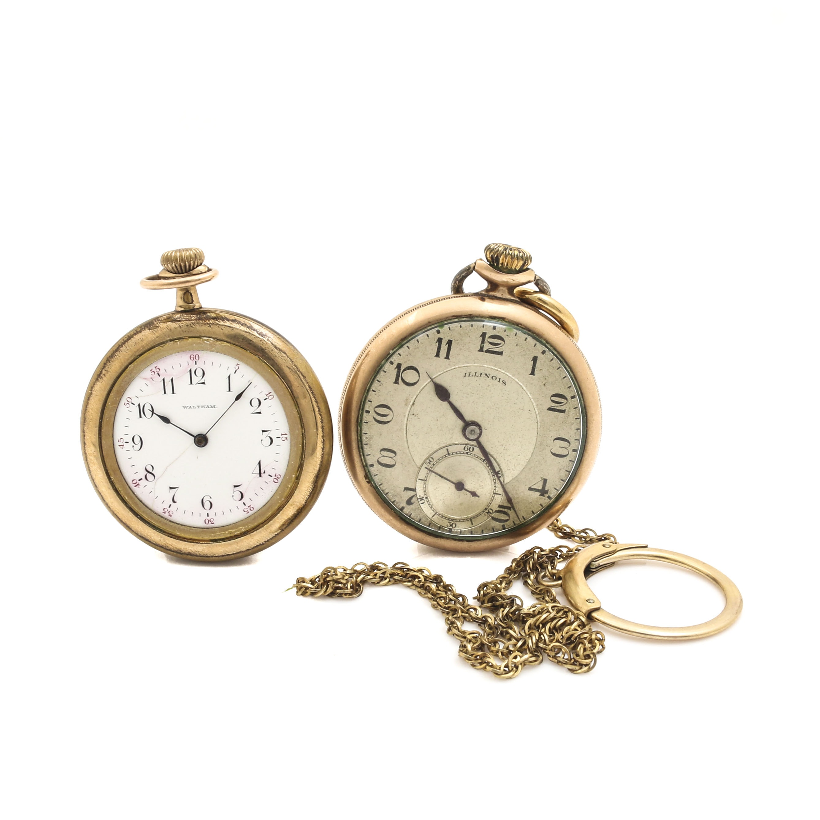 Pair of Waltham and Illinois Watch Co. Pocket Watches
