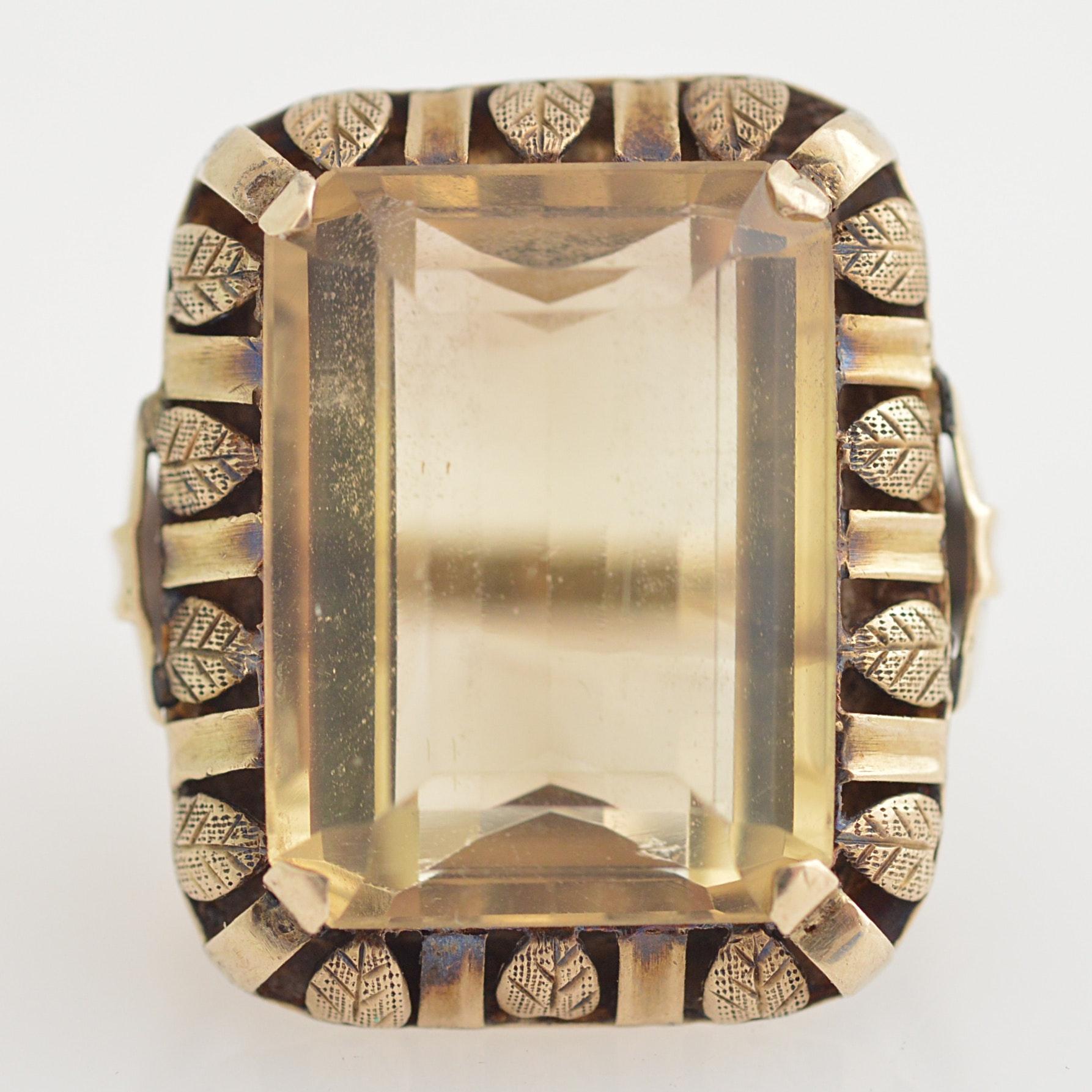 10K White Gold and Citrine Ring