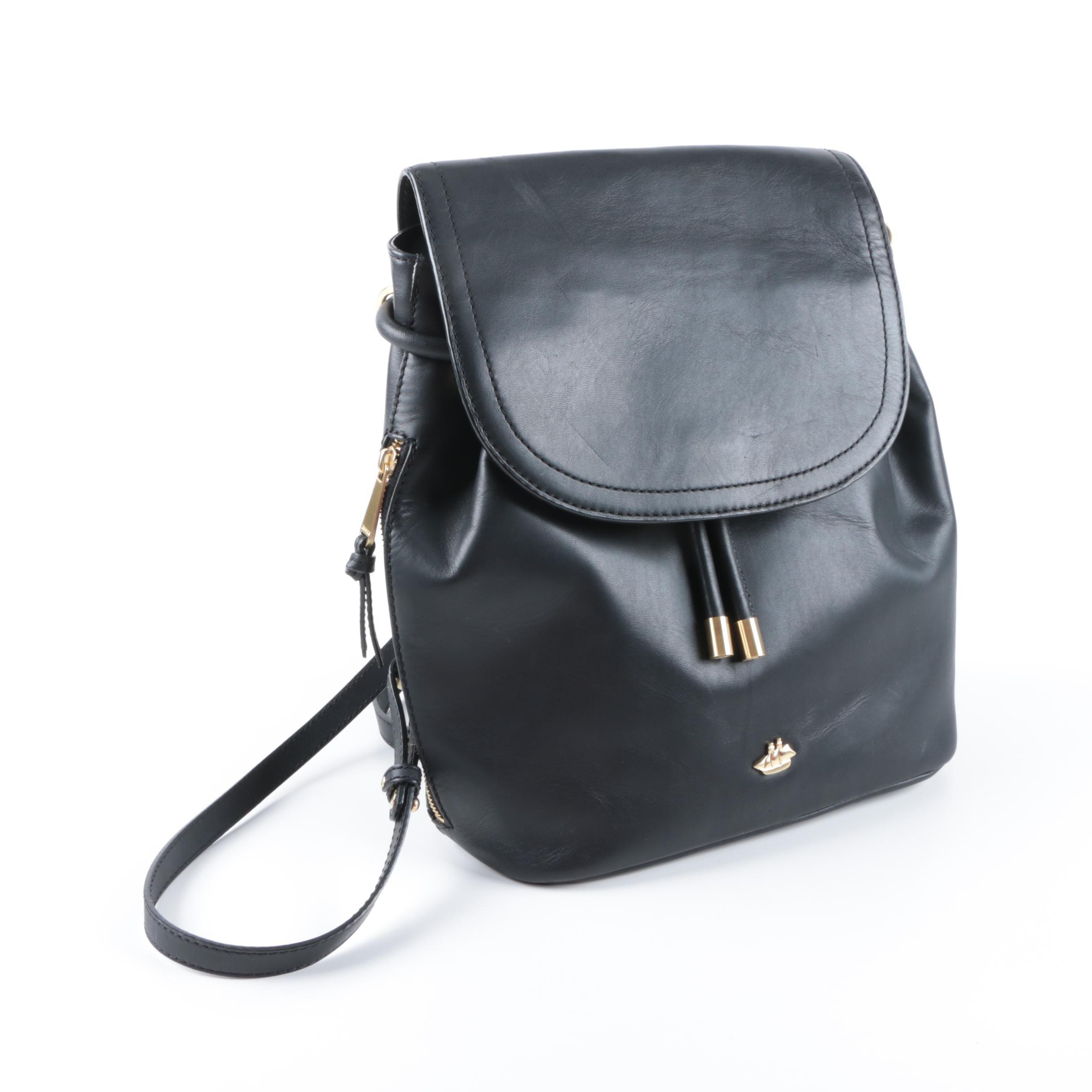 Brahmin Southcoast Black Leather Backpack