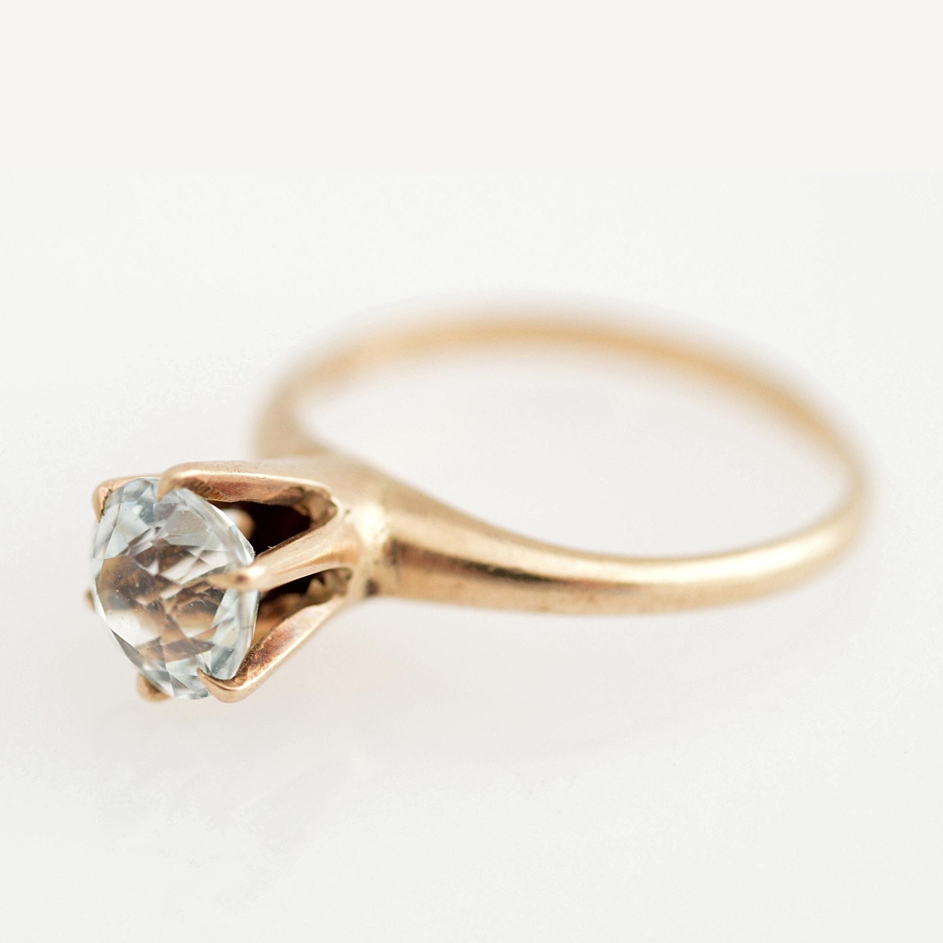 10K Yellow Gold and Aquamarine Ring