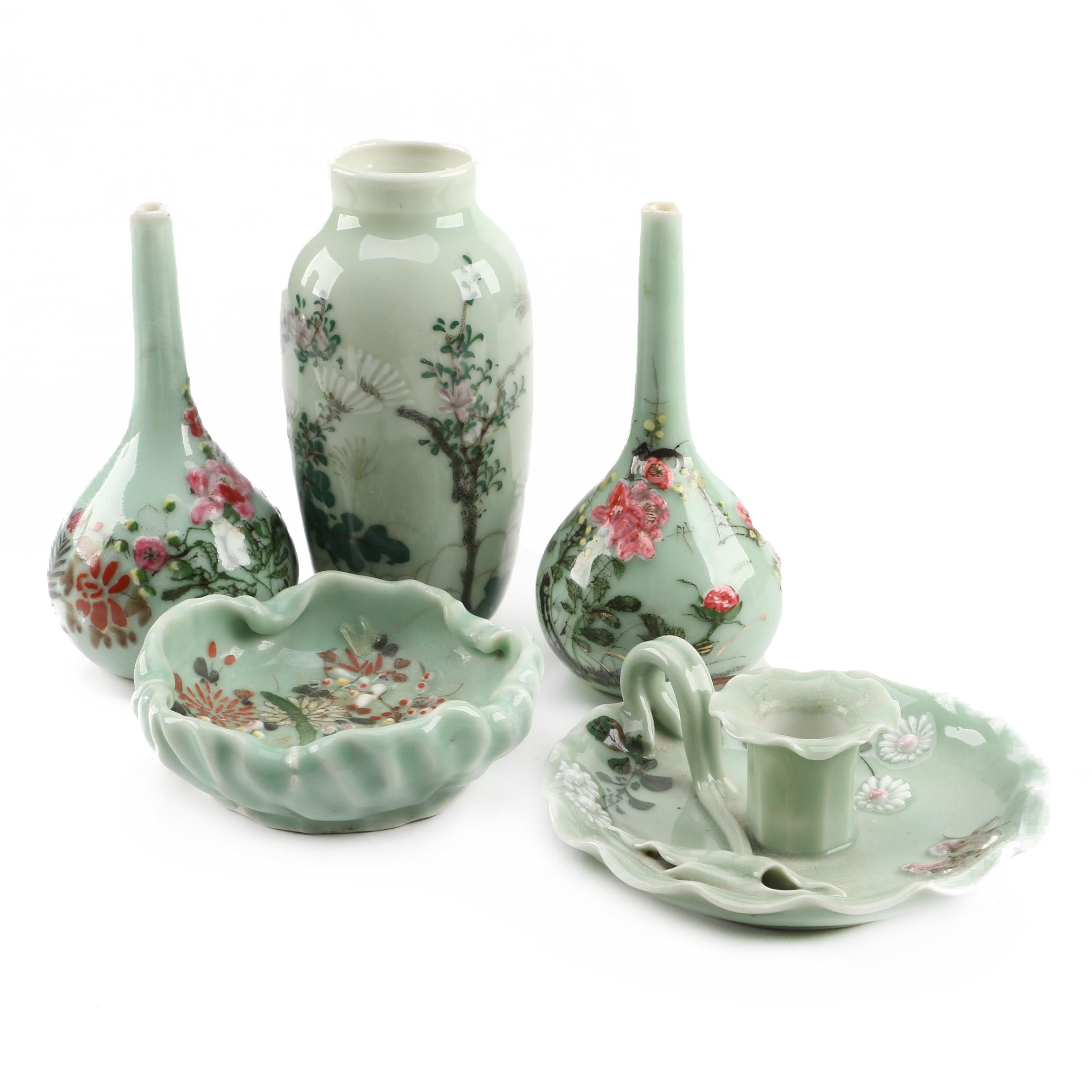 Longquan Style Celadon Hand-Painted Pieces