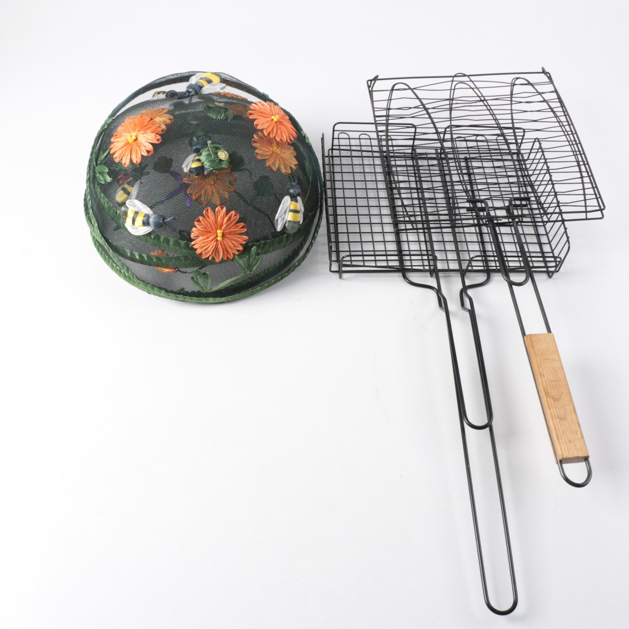 Barbecue Grilling Baskets and Decorative Food Protection Screens