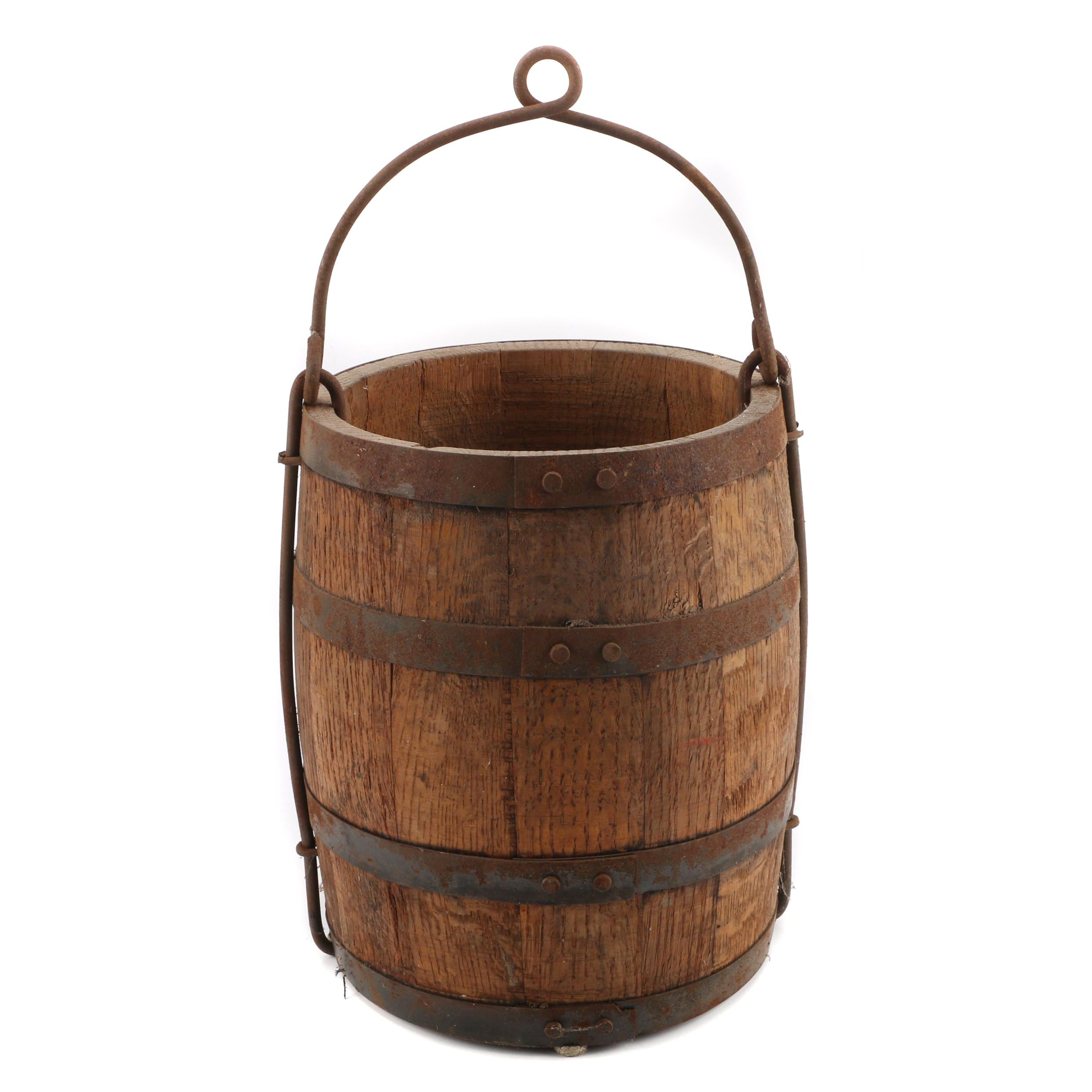 Vintage Wooden Well Bucket