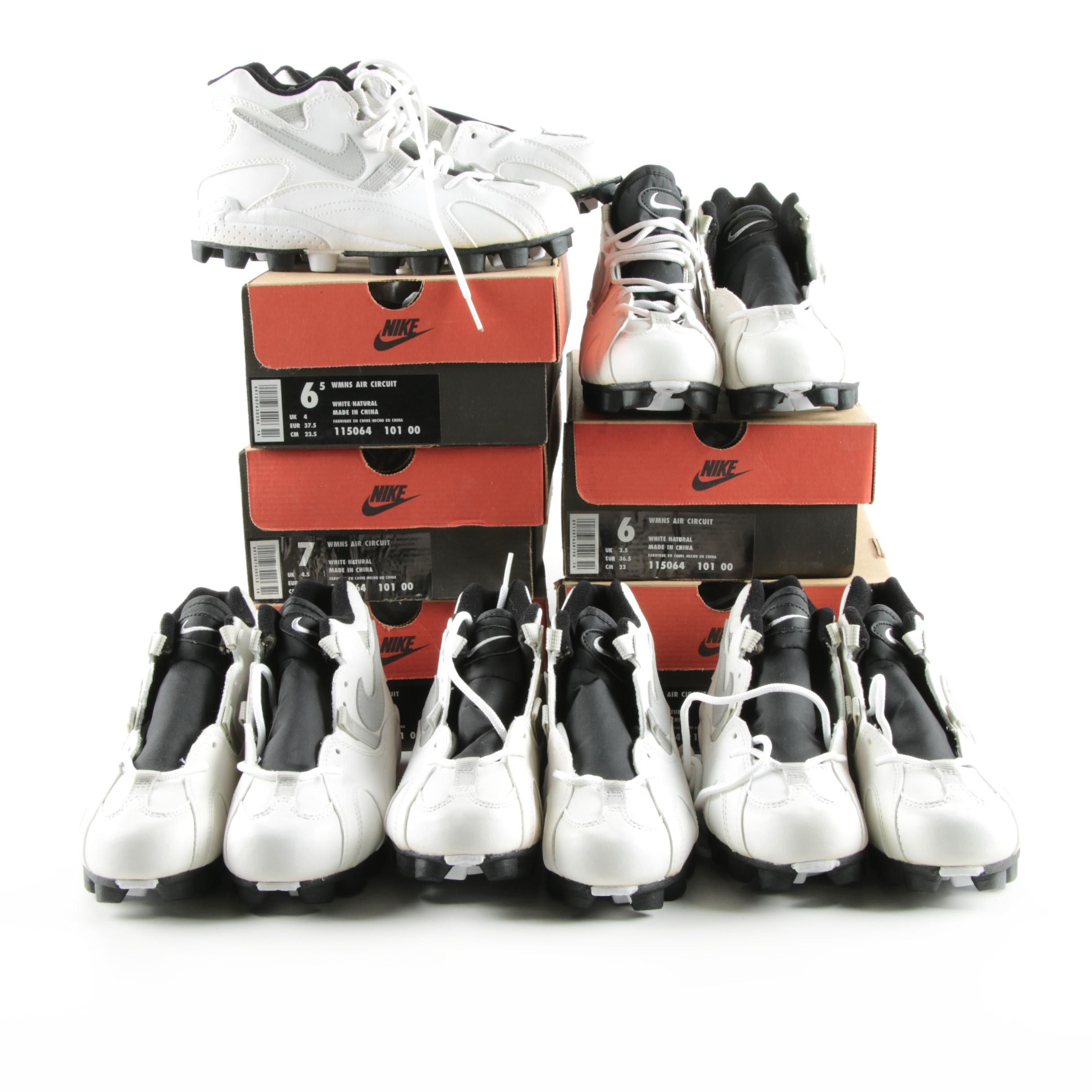 "Five Pairs of Women's Nike ""Air Circuit"" Cleats"