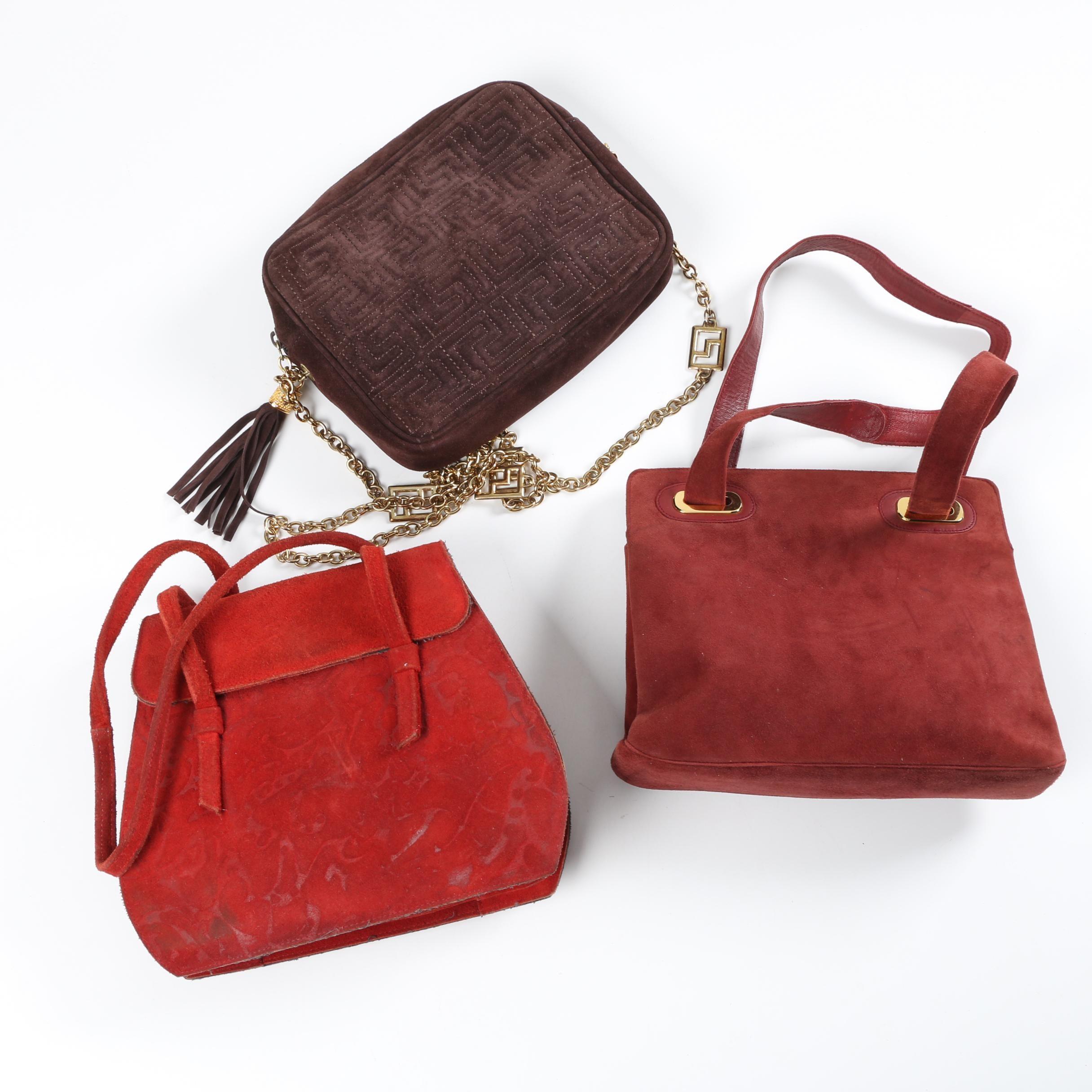 1970s Vintage Suede Handbags Including Ferragamo and Saks Fifth Avenue