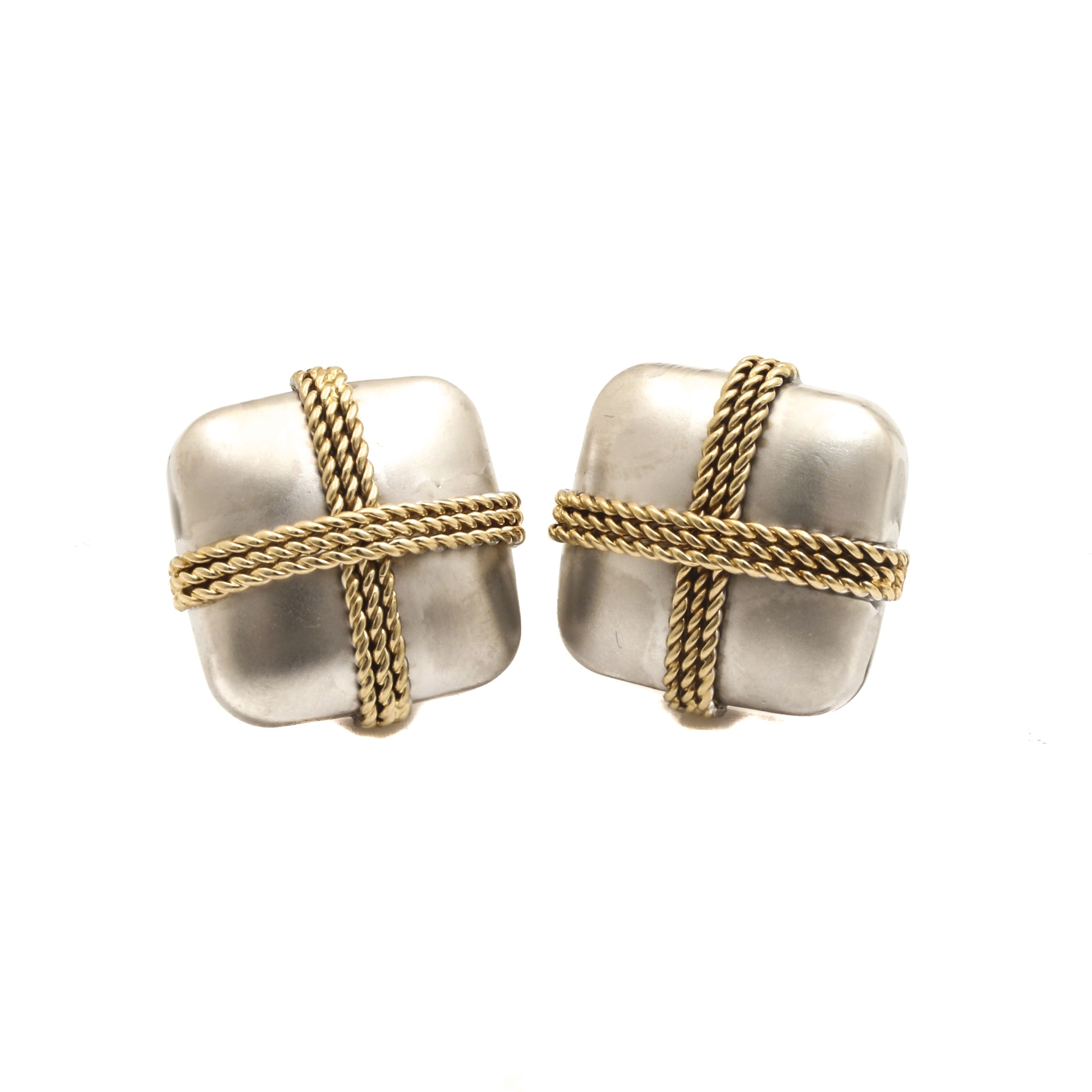 14K White and Yellow Gold Square Omega Back Earrings