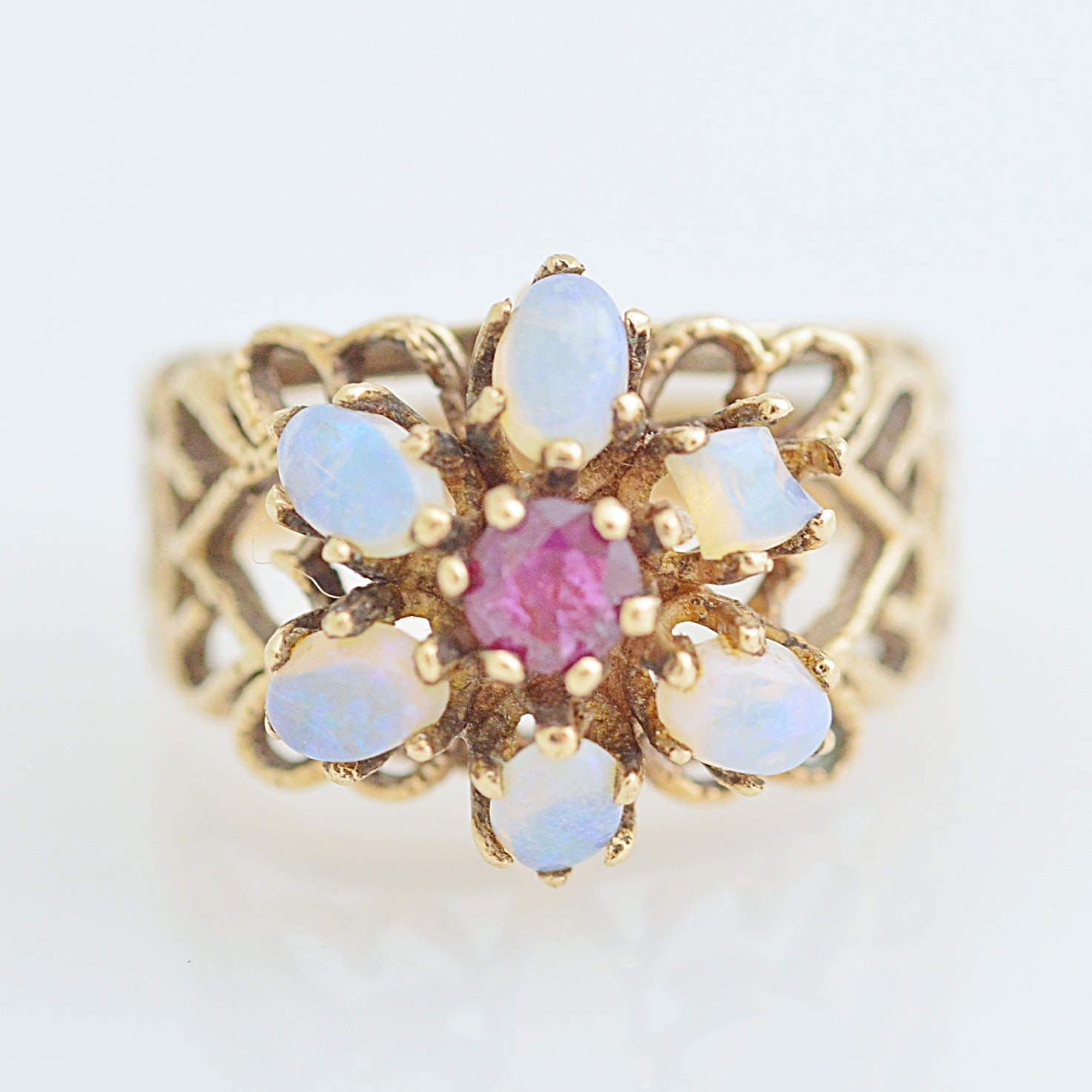 Vintage 10K Yellow Gold, Ruby and Opal Ring