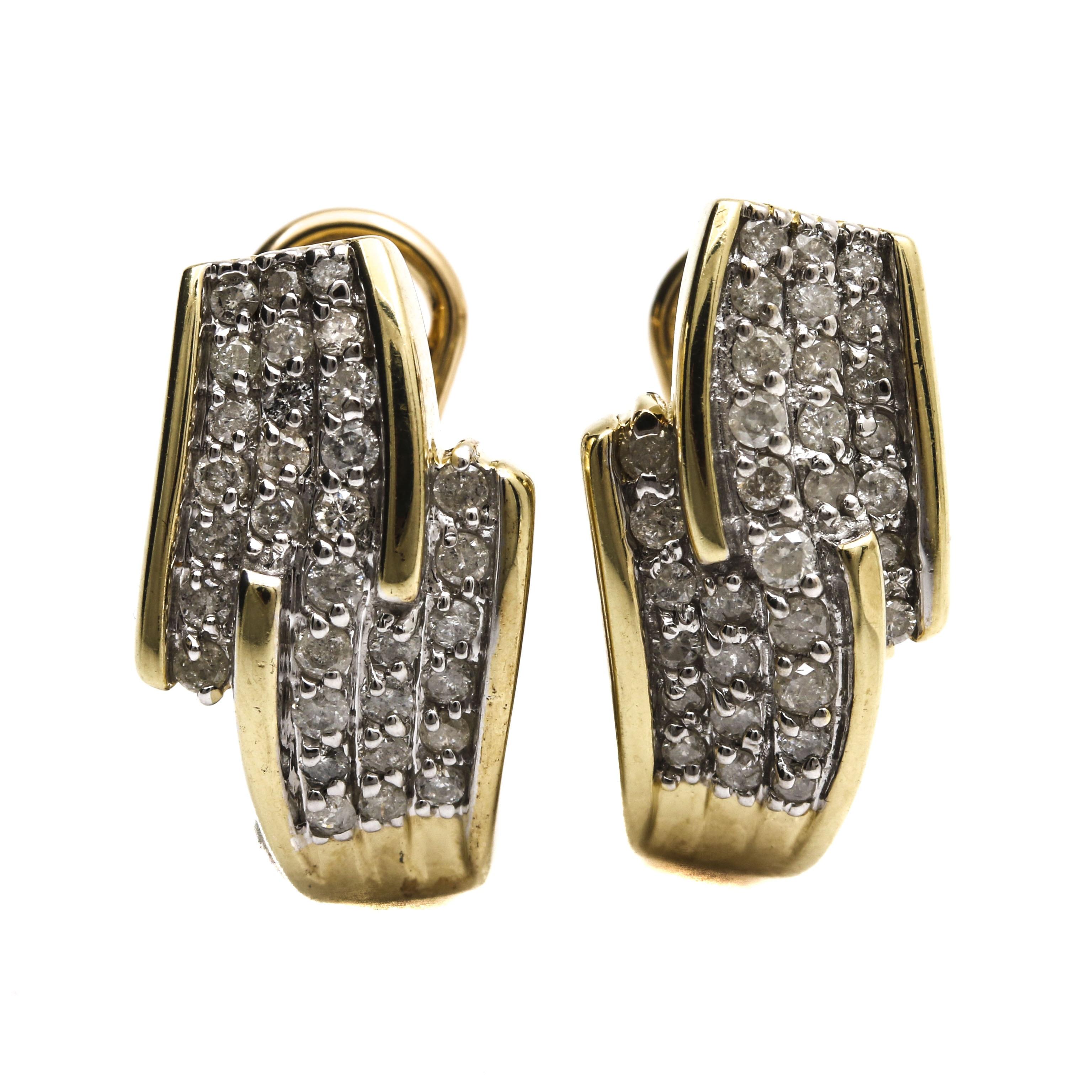 10K Yellow Gold 1.0 CTW Diamond Earrings