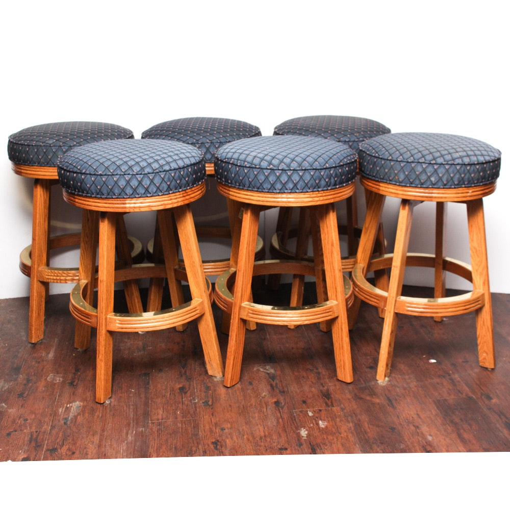 Upholstered Wooden Counter Height Stools