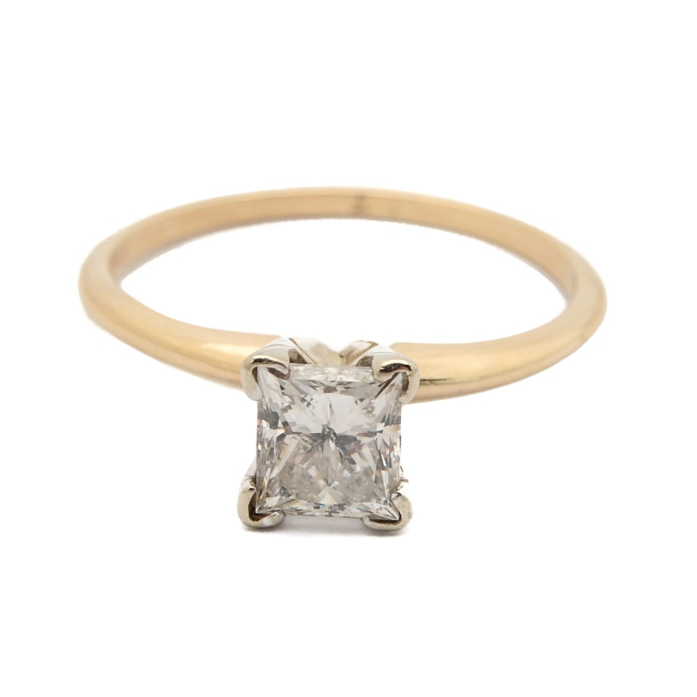 14K Yellow Gold 1.10 CTW Diamond Solitaire Ring