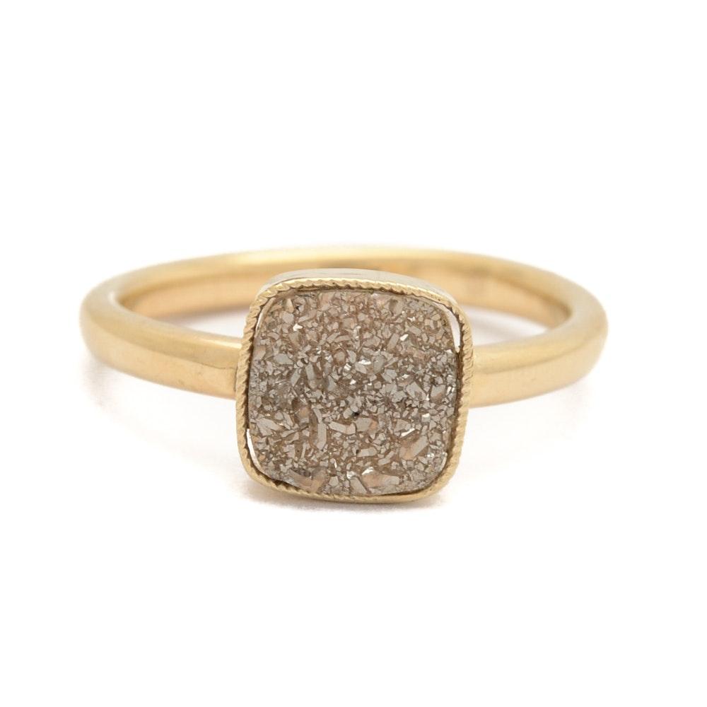 14K Yellow Gold Bezel Set Druzy Ring