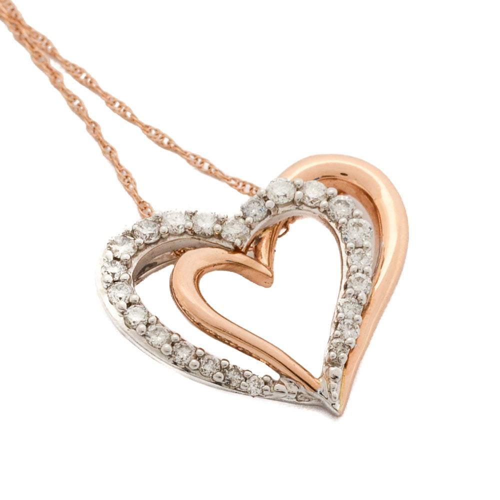 14K Yellow and White Gold Diamond Heart Pendant Necklace