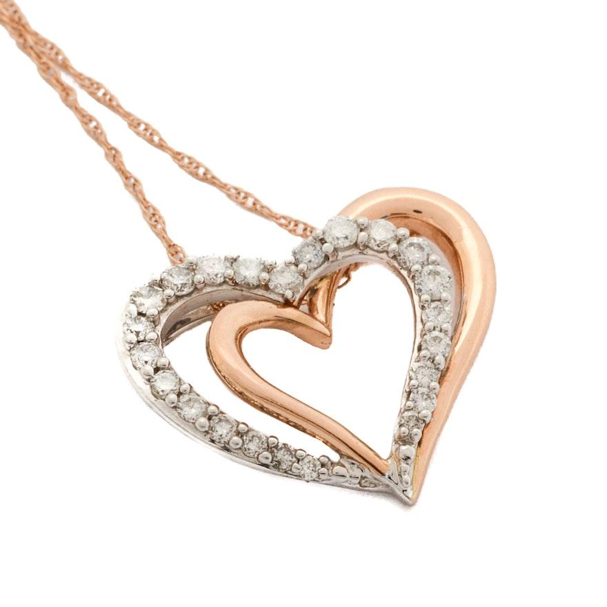 14k yellow and white gold diamond heart pendant necklace ebth 14k yellow and white gold diamond heart pendant necklace aloadofball Choice Image