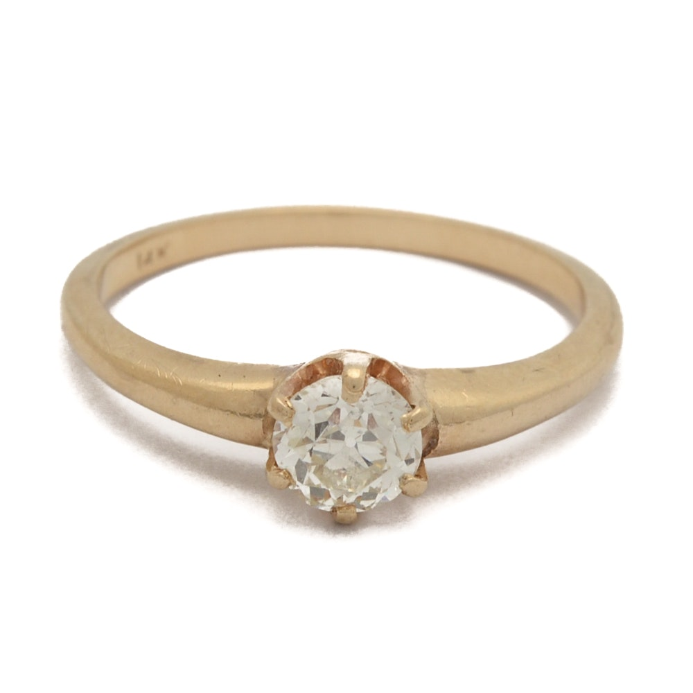 14K Yellow Gold European Cut Diamond Engagement Ring