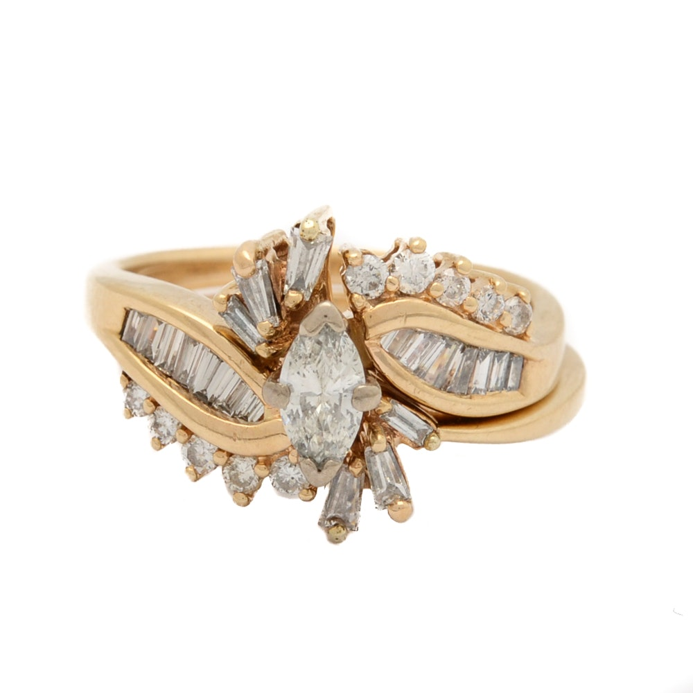14K Yellow Gold Marquise Cut Diamond Wedding Ring Set