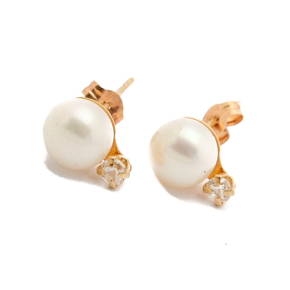 14K Yellow Gold Cultured Pearl and Cubic Zirconia Earrings
