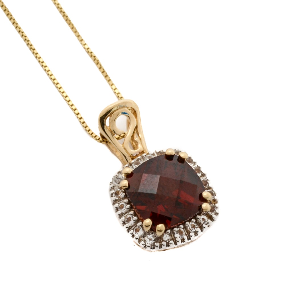 14K Yellow Gold Ruby and White Topaz Pendant Necklace