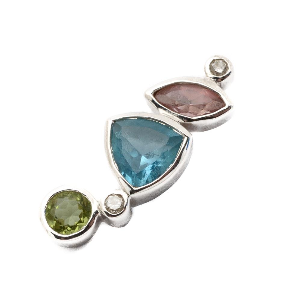 14K White Gold Diamond and Gemstone Pendant