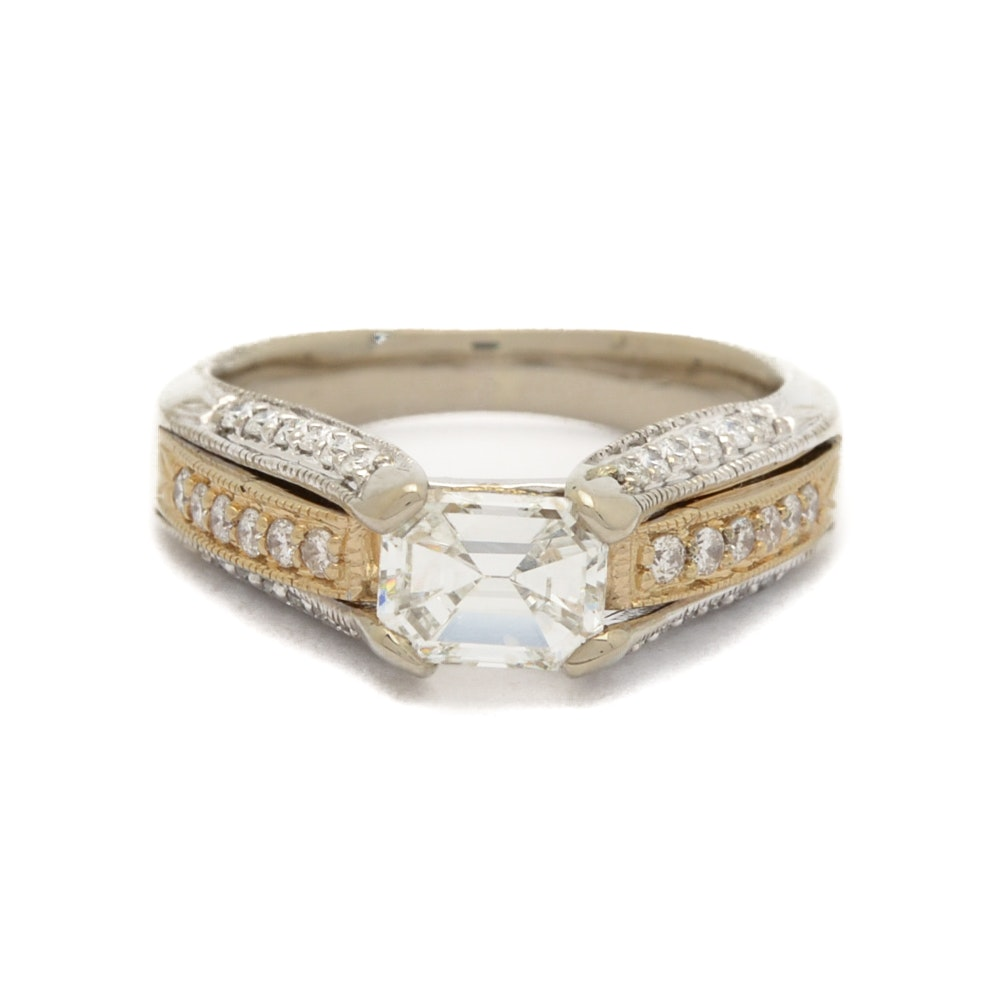 14K White and Yellow Gold 1.06 Carat Emerald Cut Diamond Ring