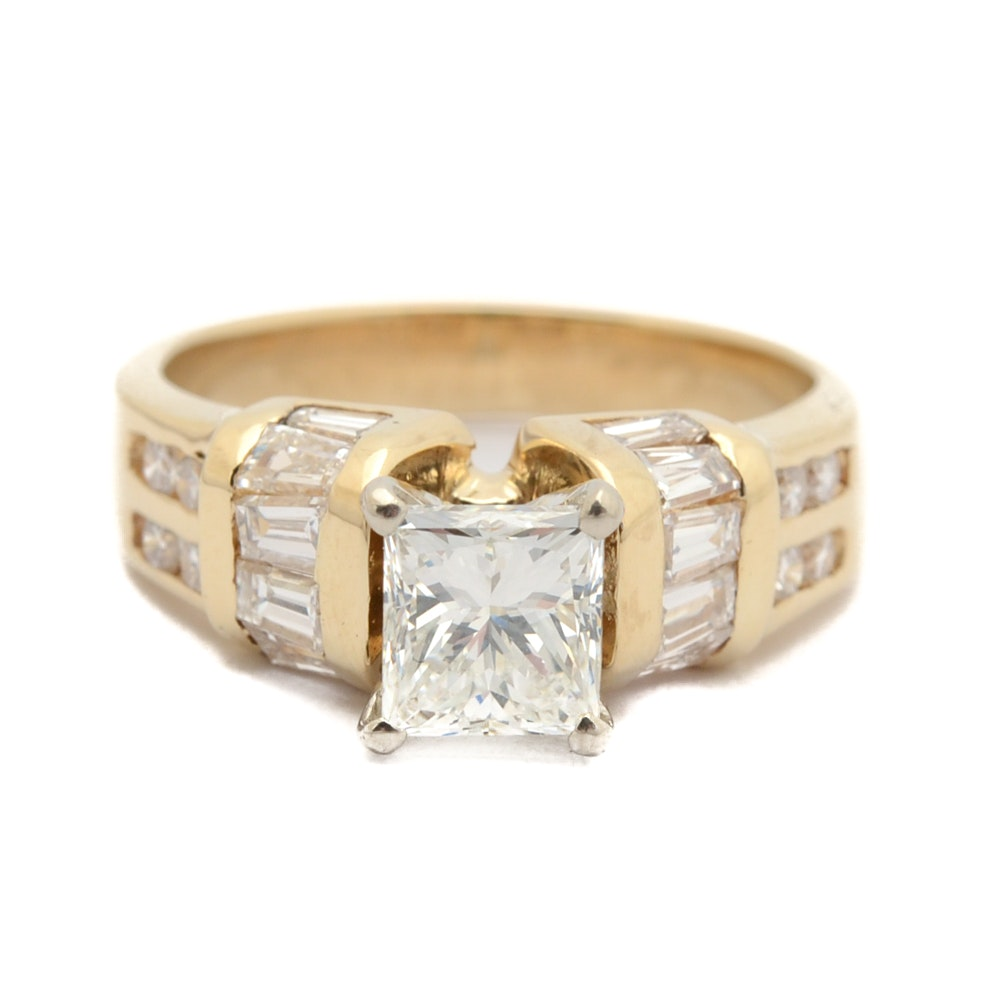 14K Yellow Gold 1.27 CTW Princess Cut Diamond Ring