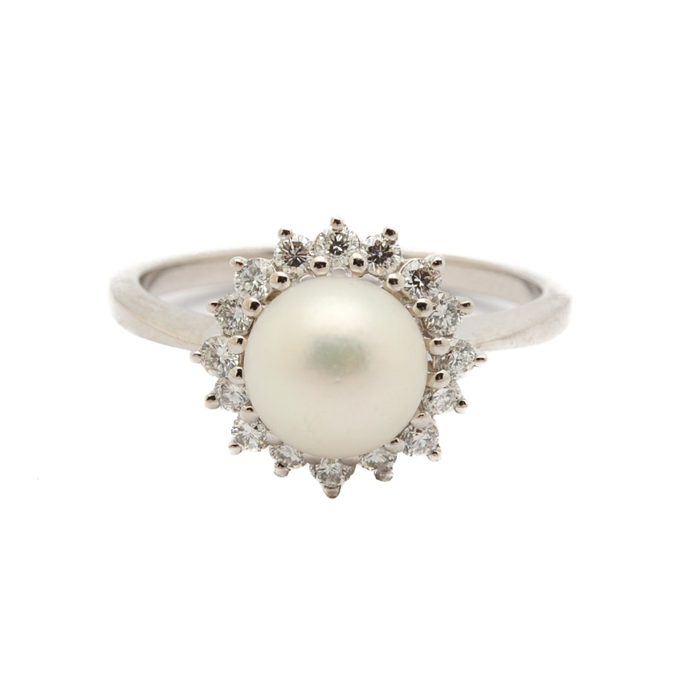 14K White Gold Cultured Pearl and Diamond Halo Ring