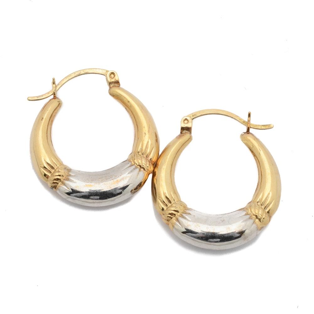 10K Yellow Gold Two-Tone Hoop Earrings