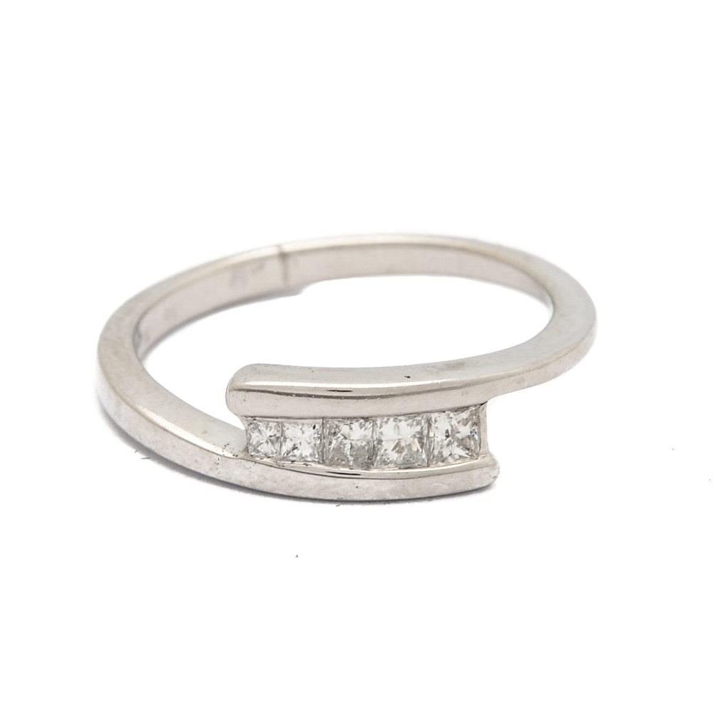 14K White Gold Princess Cut Diamond Bypass Ring