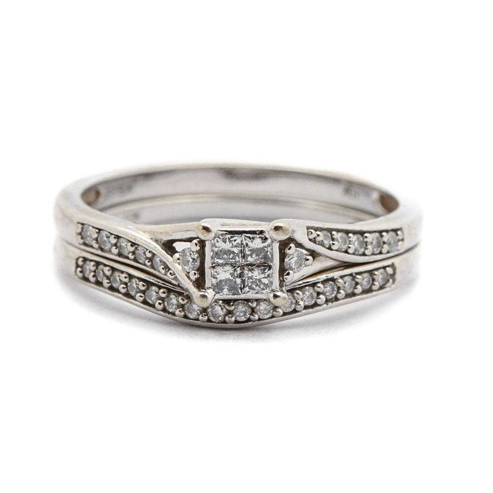 10K White Gold Princess Cut Diamond Wedding Ring Set