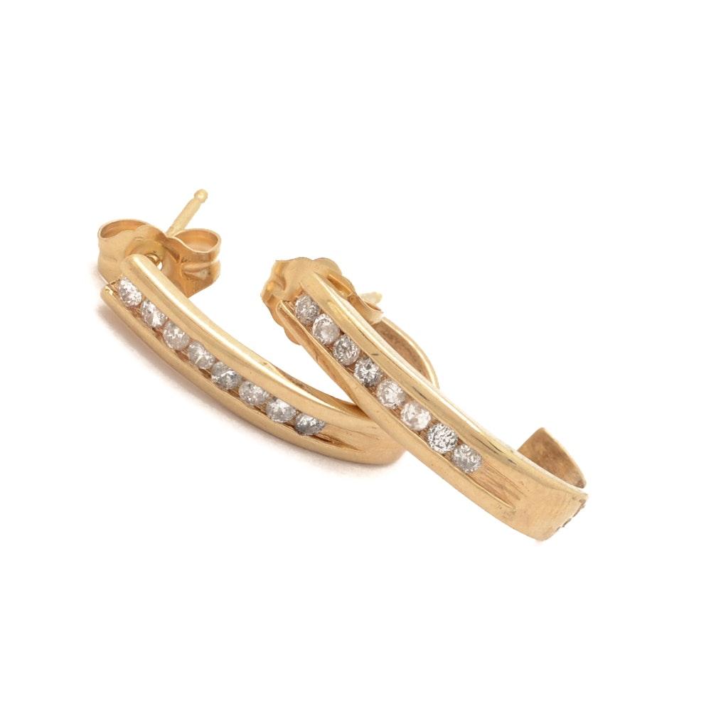 10K Yellow Gold Channel Set Diamond Earrings