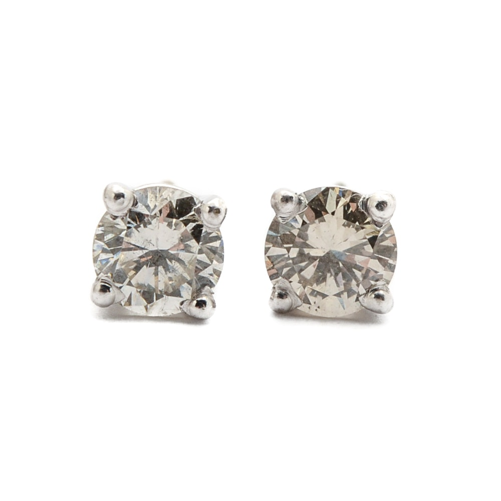 14K White Gold 0.98 CTW Diamond Stud Earrings