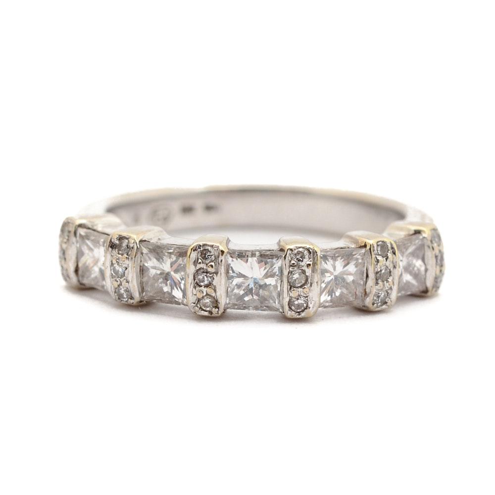 18K White Gold 0.94 CTW Princess Cut Diamond Ring