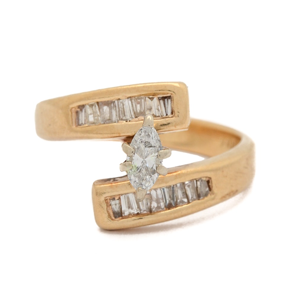 14K Yellow Gold Marquise Diamond Bypass Ring