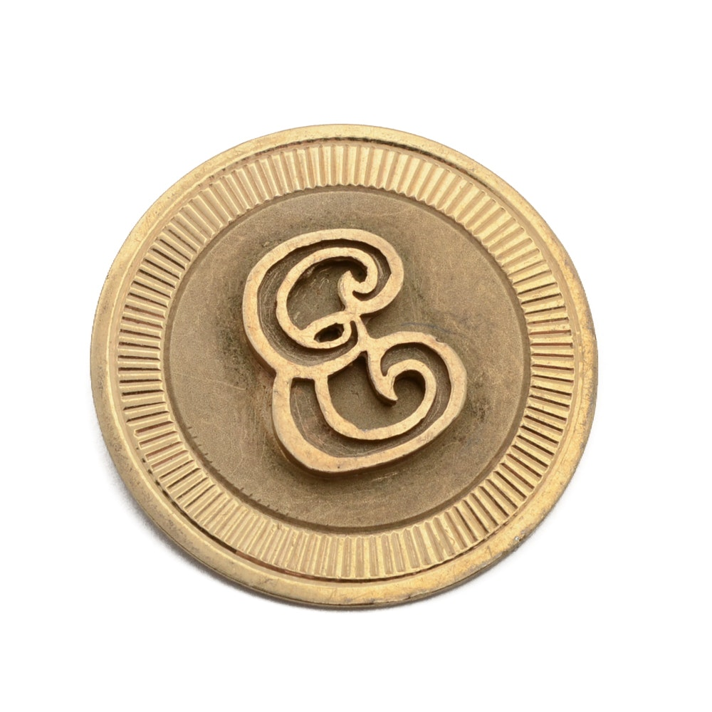 14K Yellow Gold Initialed Brooch