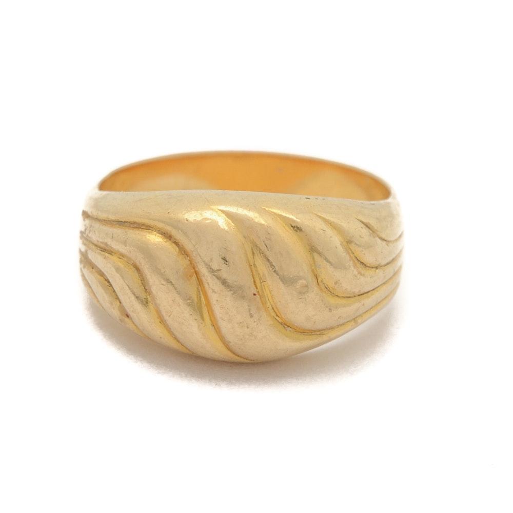 18K Yellow Gold Ring Band