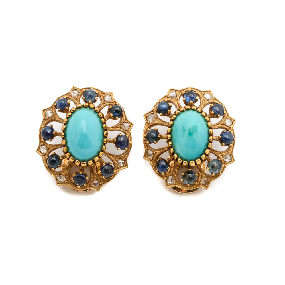 18K Yellow Gold Diamond Sapphire Turquoise Clip Earrings