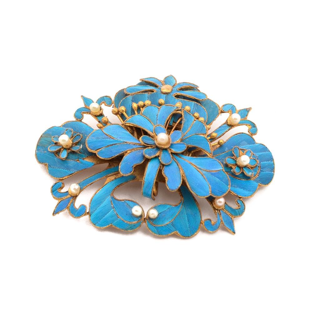 Chinese Tian-Tsui Kingfisher Flower Brooch
