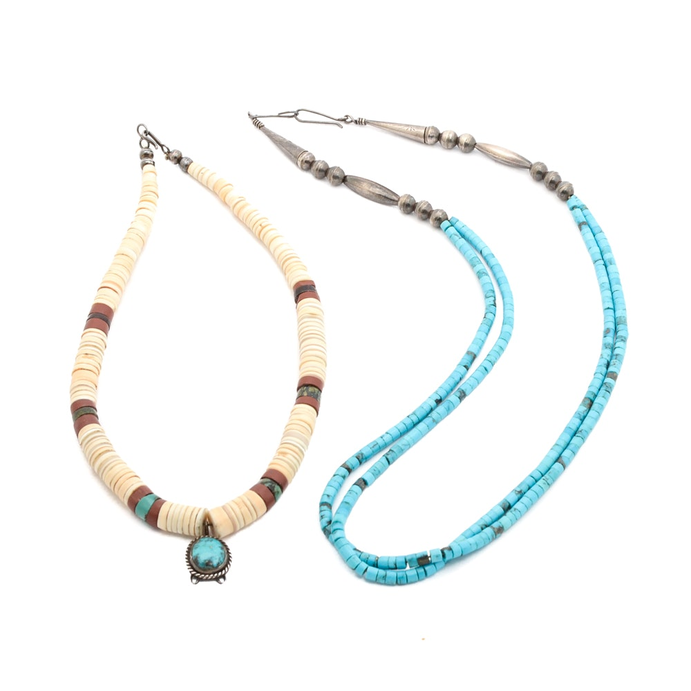 Two Sterling Silver Beaded Necklaces