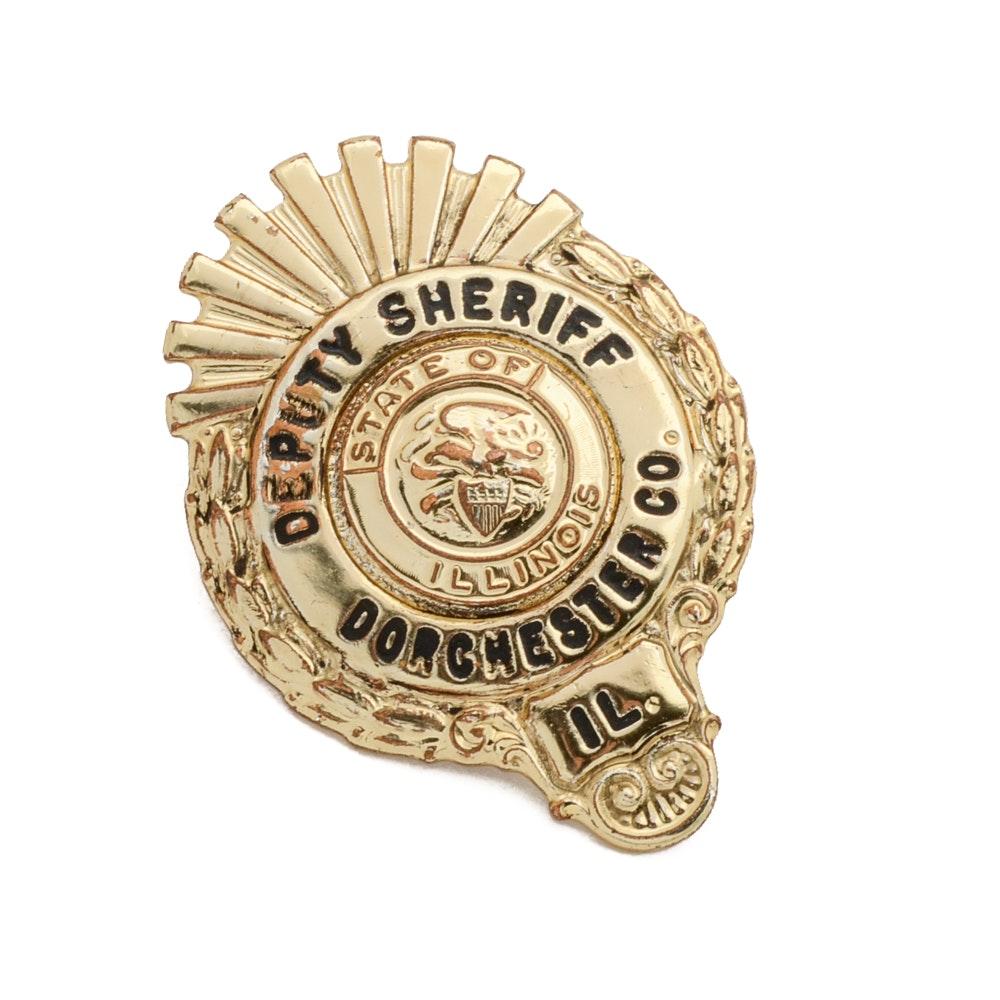"1970 Obsolete ""Dorchester County"" Illinois Deputy Sheriff Patrol Badge"