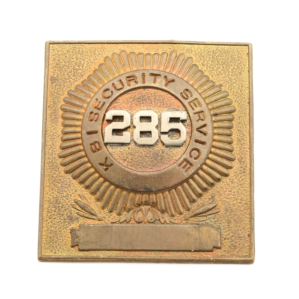 "Vintage and Obsolete ""KBI Security Services"" Badge"