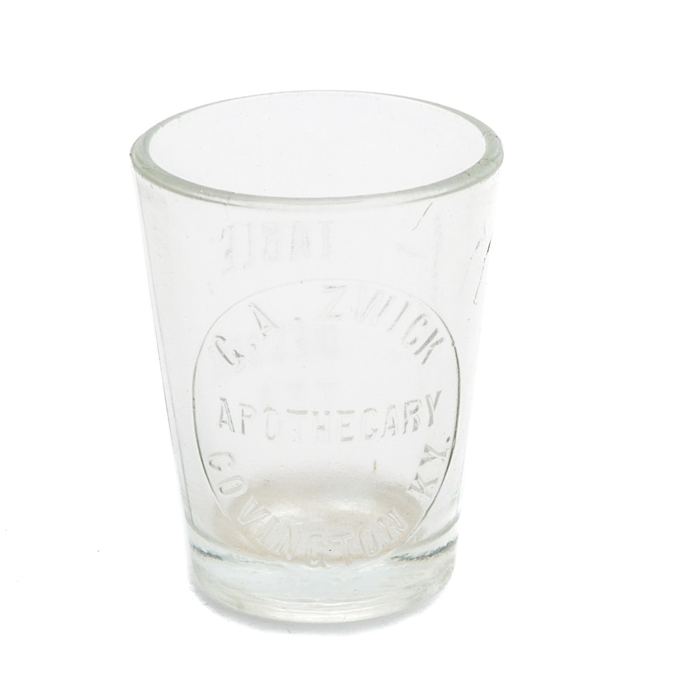 Early 1900s Etched Apothecary Shot Glass Covington, Ky.