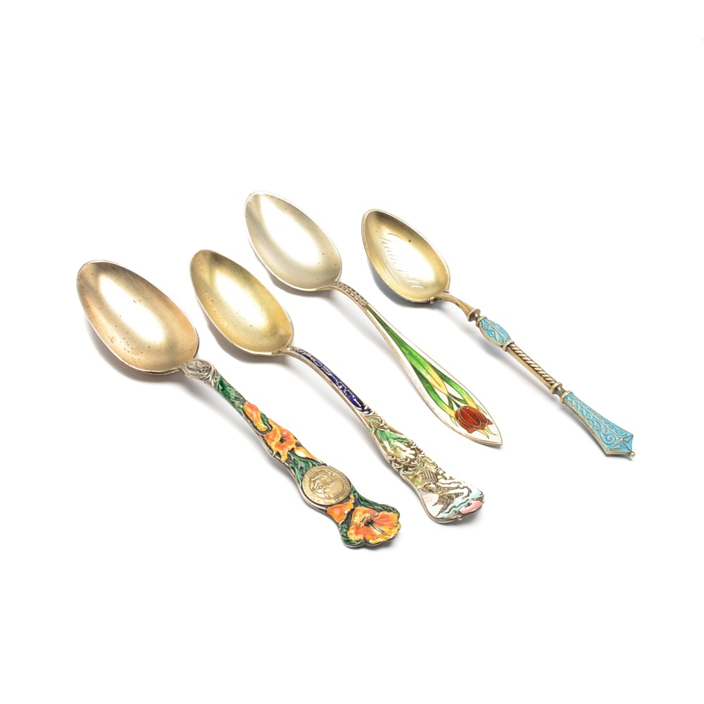 Antique Enameled Sterling Silver Spoons Including Gorham and R. Wallace & Sons