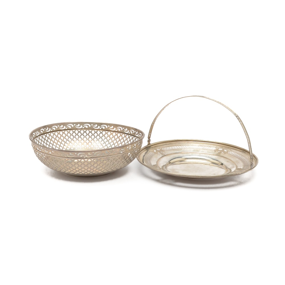 Simpson, Hall, Miller & Co. Sterling Silver Bread Basket with Wrought-Right Tray