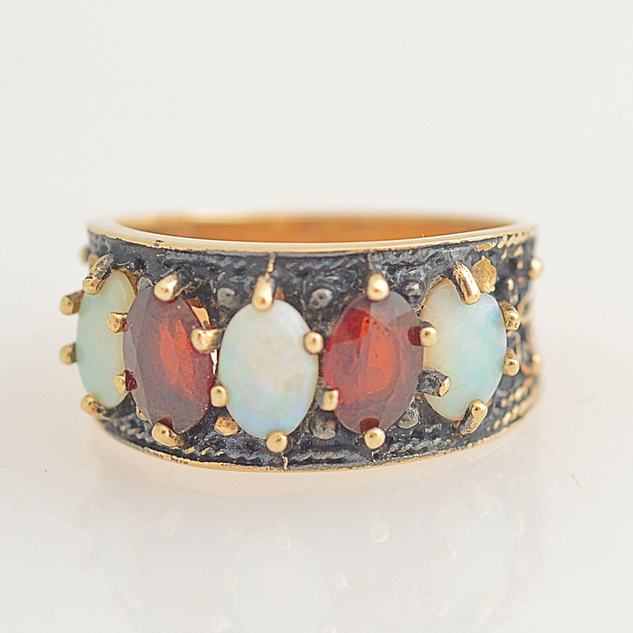 10K Yellow Gold, Garnet and Opal Ring